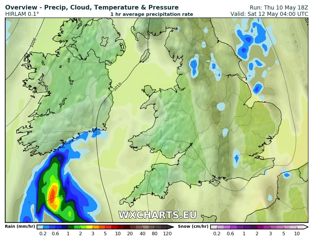 Rainfall chart from the High res hirlam model for 4am Saturday morning