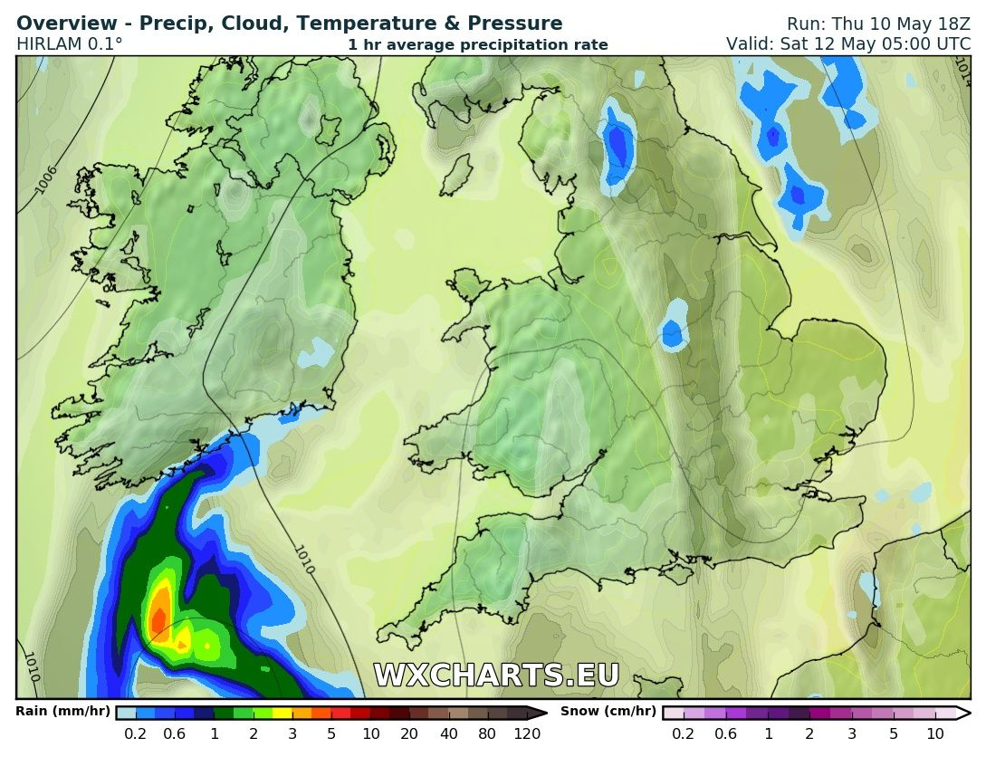 Rainfall chart from the High res hirlam model for 5am Saturday morning