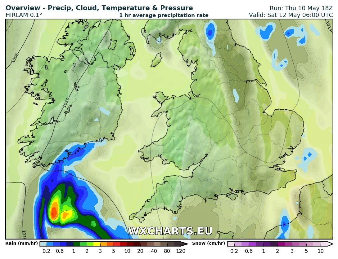Rainfall chart from the High res hirlam model for 6am Saturday morning