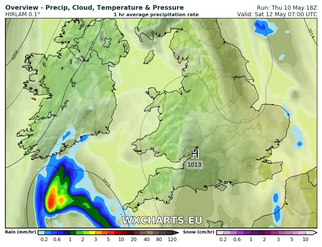 Rainfall chart from the High res hirlam model for 7am Saturday morning