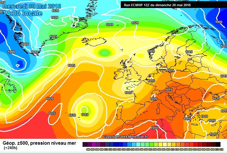 area of High pressure over Ireland 10 days away