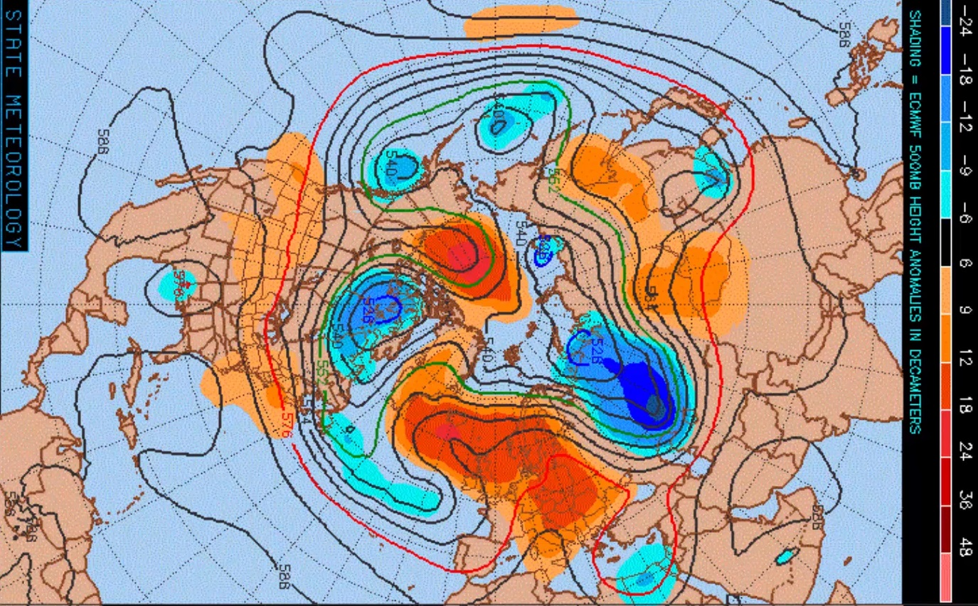 ECMWF 500mb anomaly chart shown above average heights over the next 10 days