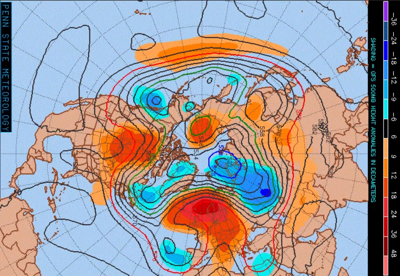 GFS 500mb anomaly chart shown above average heights over the next 10 days