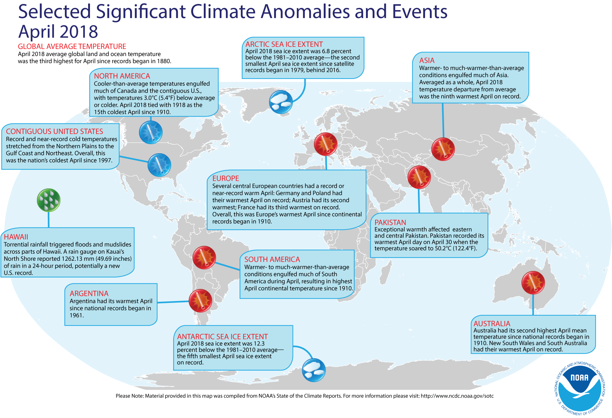 An annotated map of the world showing notable climate events that occurred during April 2018. For details, see bulleted list below in our story and also visit https://www.ncdc.noaa.gov/sotc/global/201804. (NOAA NCEI)