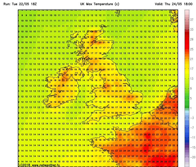 Temperatures over Ireland Thursday