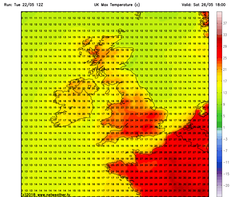 Temperatures over Ireland Sunday