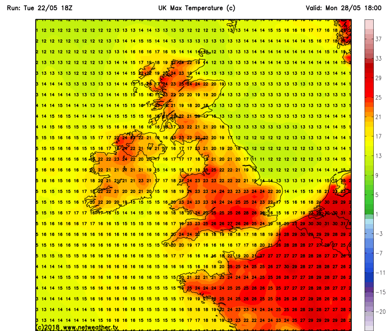Temperatures over Ireland Monday