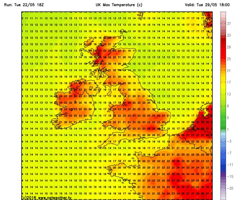 Temperatures over Ireland Tuesday