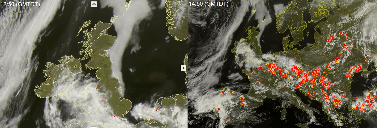 Latest cloud cover over Ireland today with convection taken place due to the heat allowing clouds to develop and bubble up