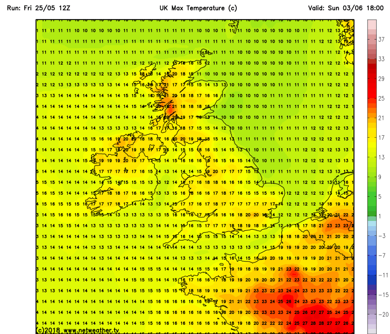Latest GFS model run for next Sunday the 3rd of June showing warm temperatures across Ireland taken from the GFS model run from netweather