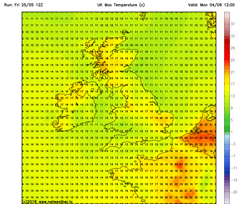 Latest GFS model run for next Monday the 4th of June showing warm temperatures across Ireland taken from the GFS model run from netweather