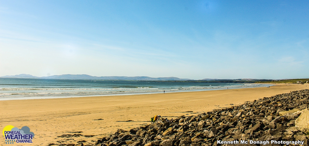 Warm and sunny at Rossnowlagh Beach .