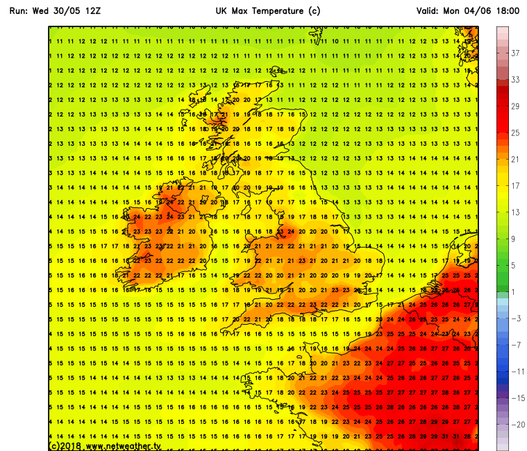 Max temperatures expected across Ireland this Bank Holiday Monday.