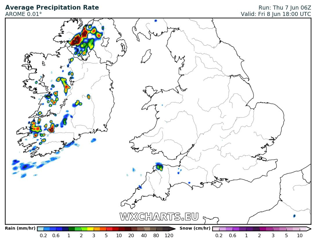 precipitation chart for 6pm Friday with heavy thundery showers really getting going