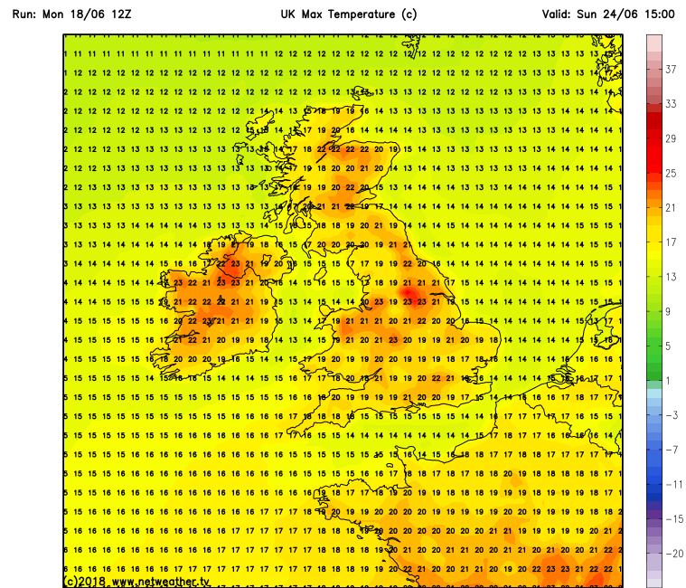 Warmest temperatures over Ulster on Sunday