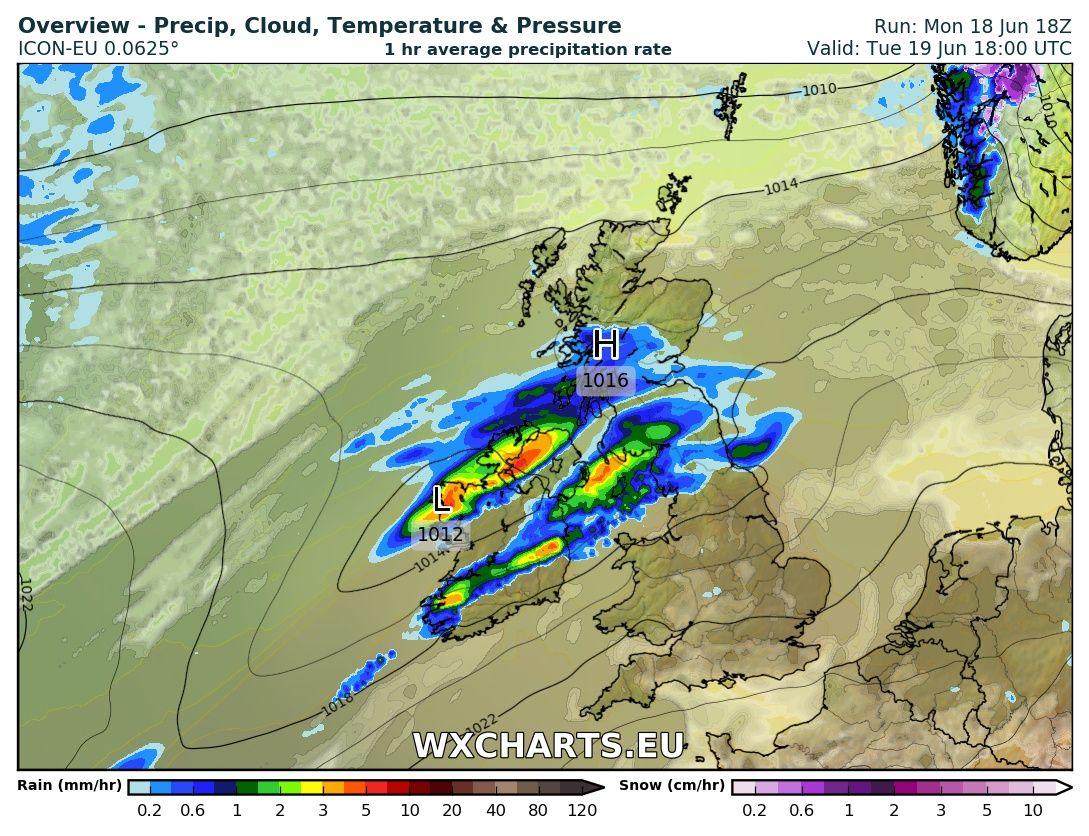 Rainfall at 6pm   Tuesday