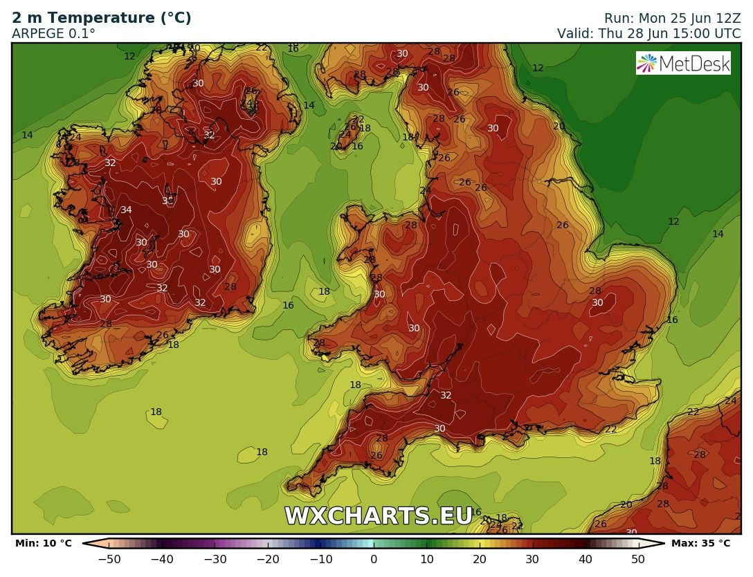 Temperatures be suggested by the ARPEGE model from Wednesday, Thursday and Friday