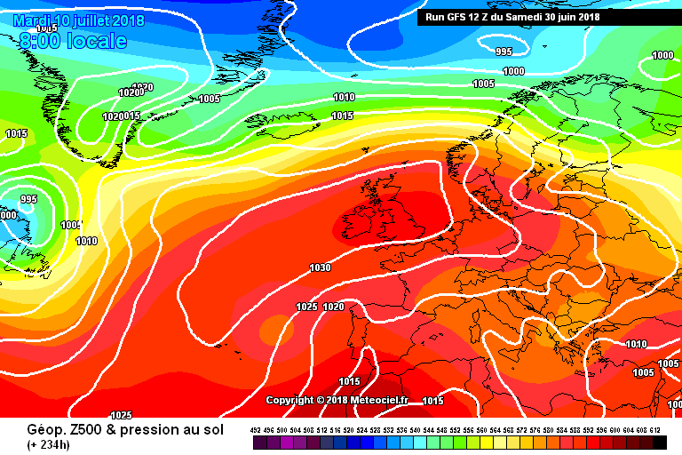 Very Strong area of High pressure from the Azores over Ireland around the 8th onward taken from the GFS MODEL