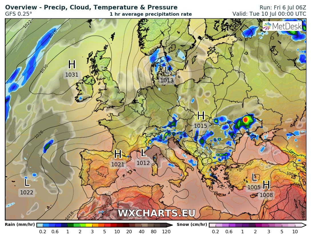 Center of High pressure of the north coast of Ireland with a thundery low of the west coast of France in the bay of Biscay.
