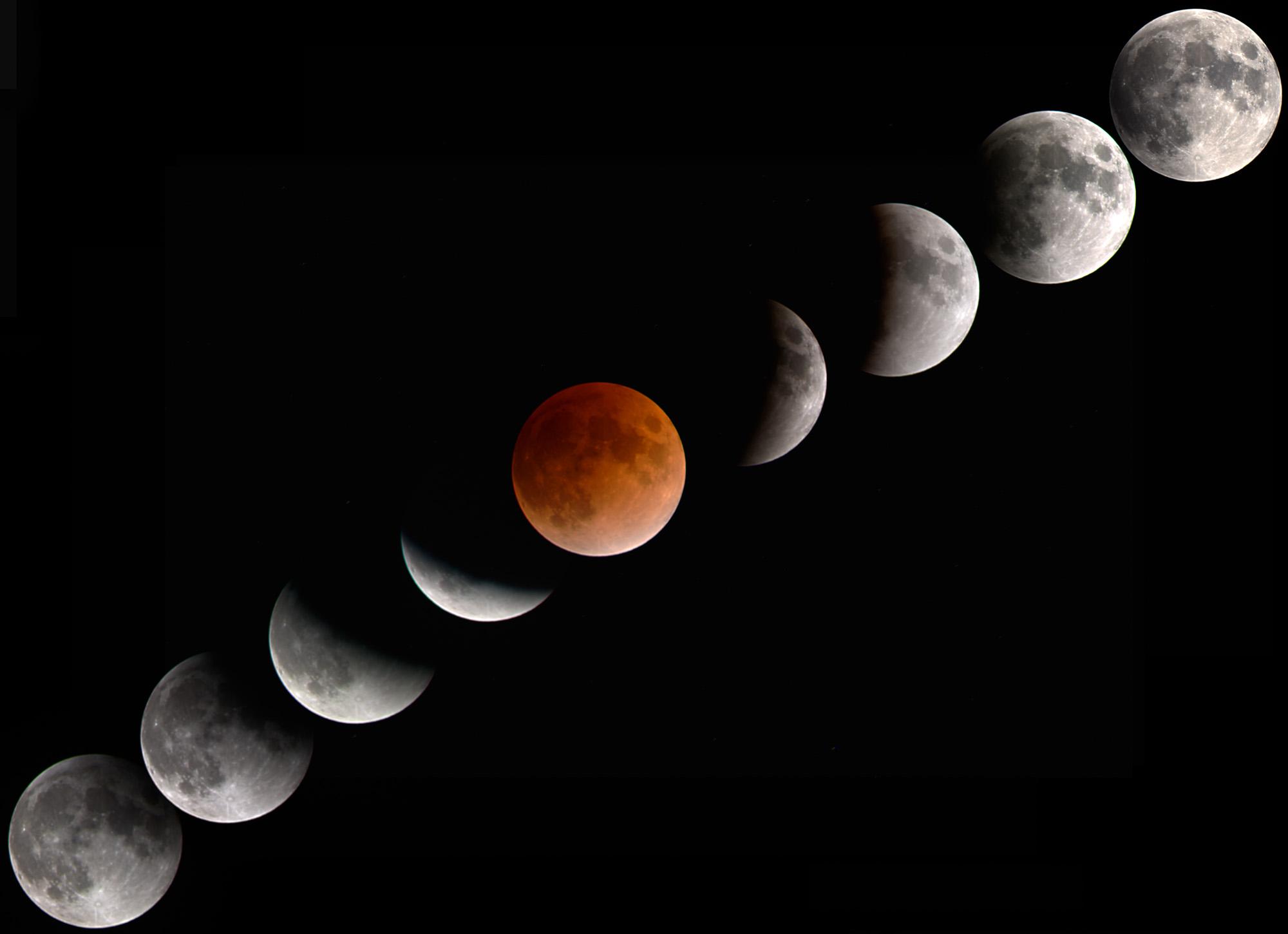 Blood moon Lunar eclipse moon