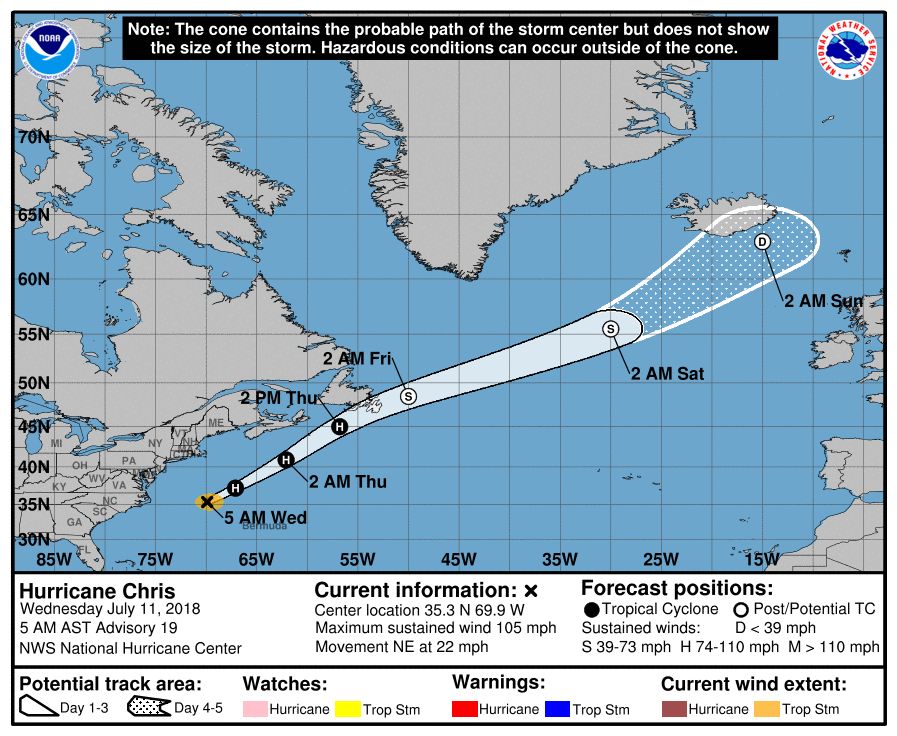 Latest track of Hurricane Chris which will downgrade to a post tropical storm by Friday morning and to a depression or area of low pressure by Saturday morning once it reaches Iceland.