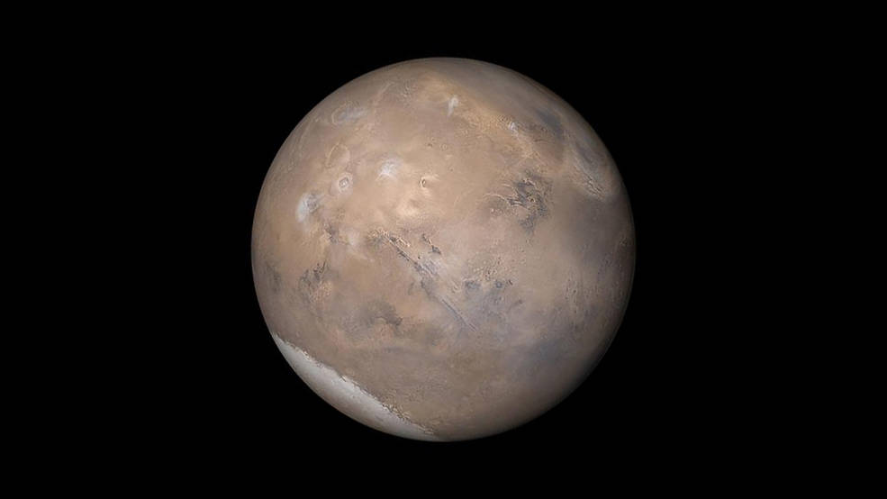 The view of Mars shown here was assembled from MOC daily global images obtained on May 12, 2003. Credits: NASA/JPL/Malin Space Science Systems