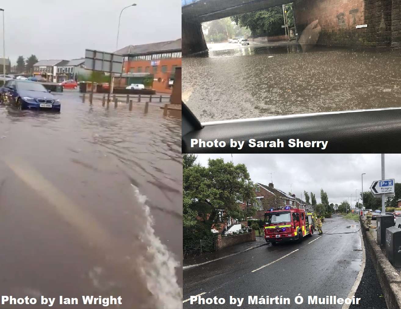 Some of the flooding across Northern Ireland today around Down and Antrim