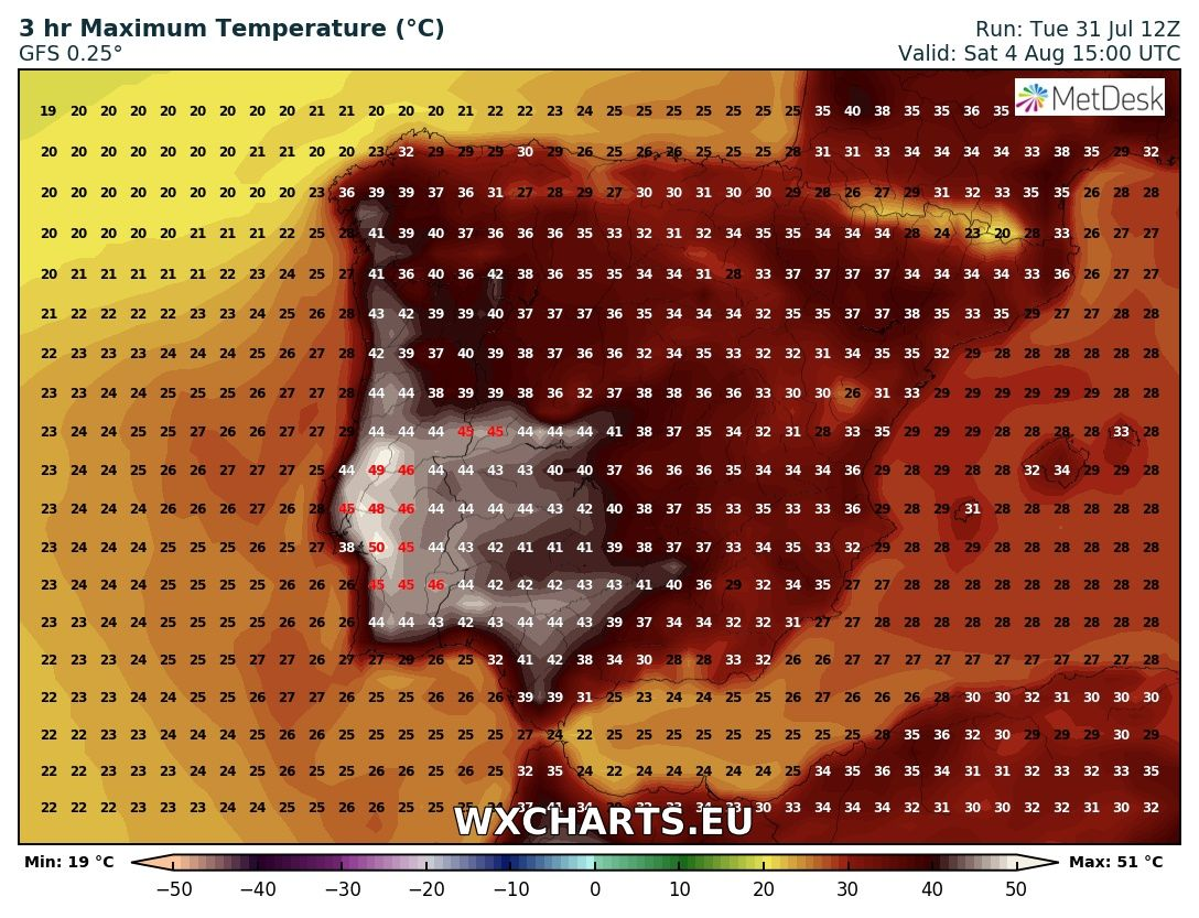 Maximum temperatures for Wednesday across Iberia