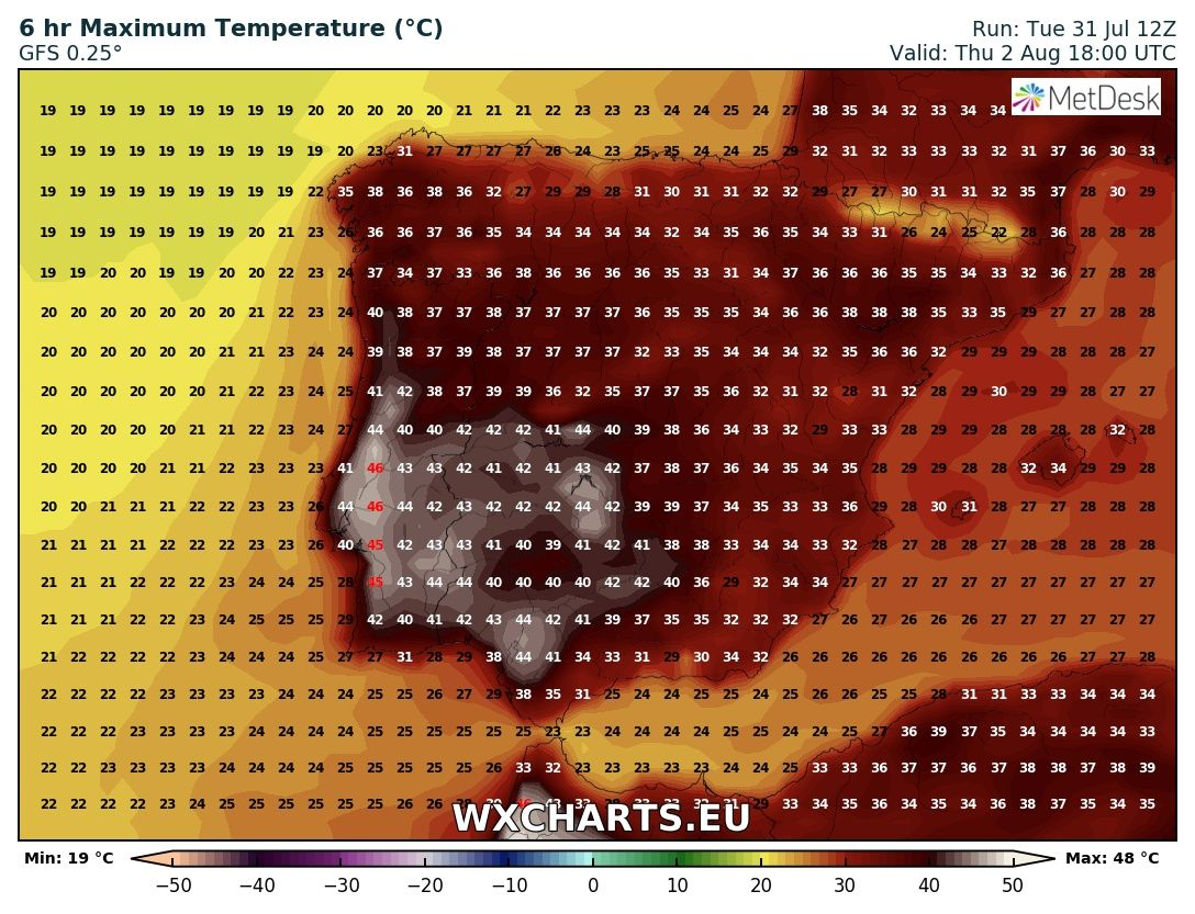 Maximum temperatures for Thursday across Iberia