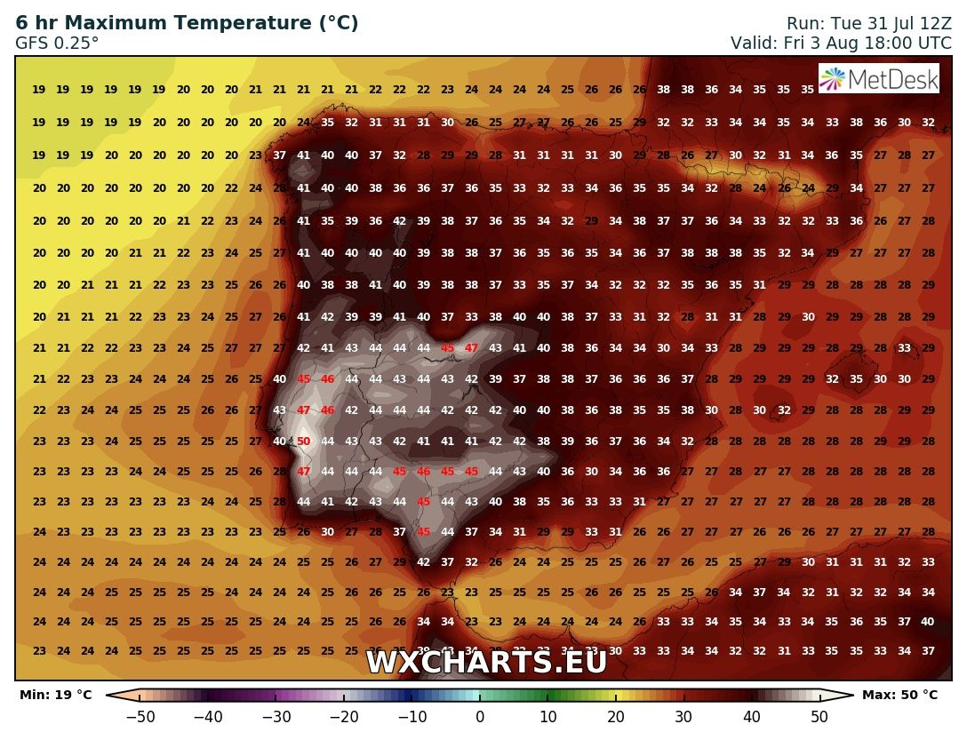 Maximum temperatures for Friay across Iberia