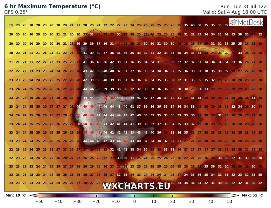 Maximum temperatures for Saturday across Iberia