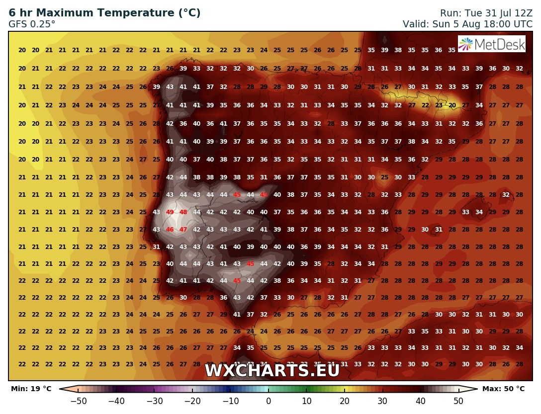 Maximum temperatures for Sunday across Iberia