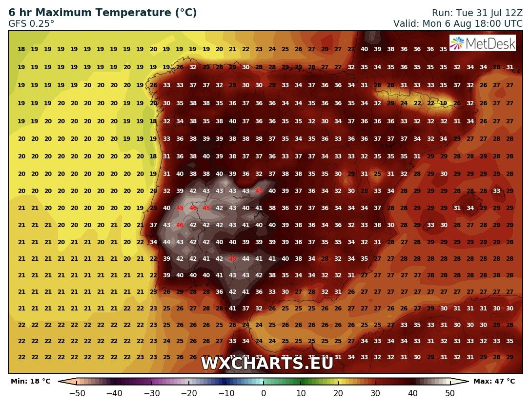 Maximum temperatures for Monday across Iberia