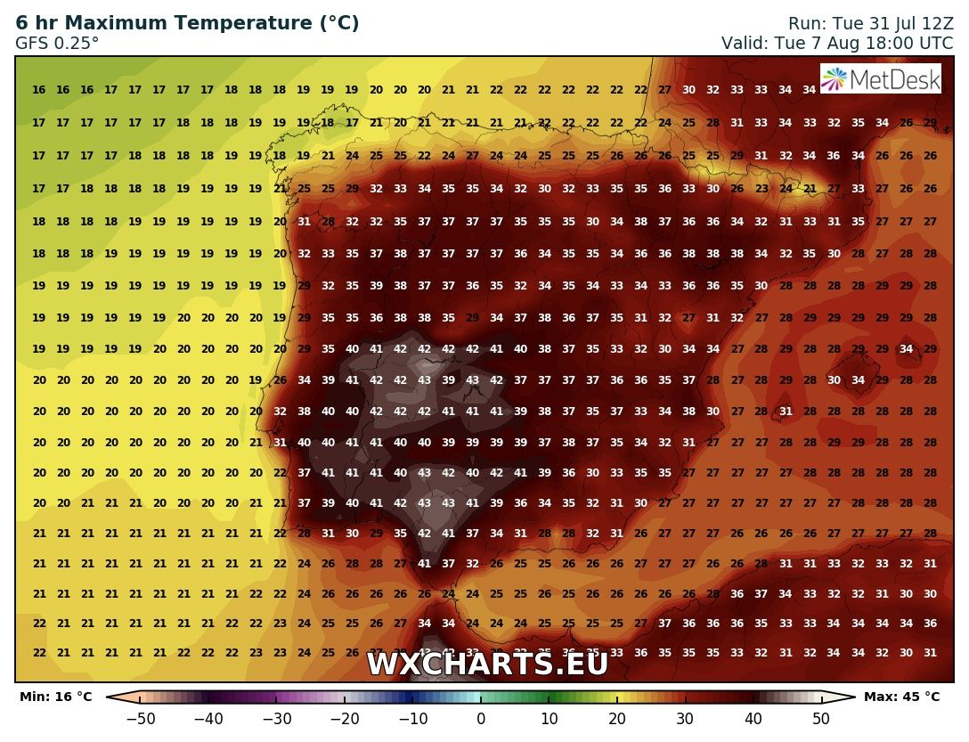 Maximum temperatures for Tuesday across Iberia