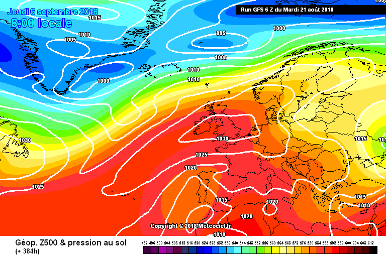 Latest GFS model showing High pressure centered over Ireland and the UK at the end of this month into September
