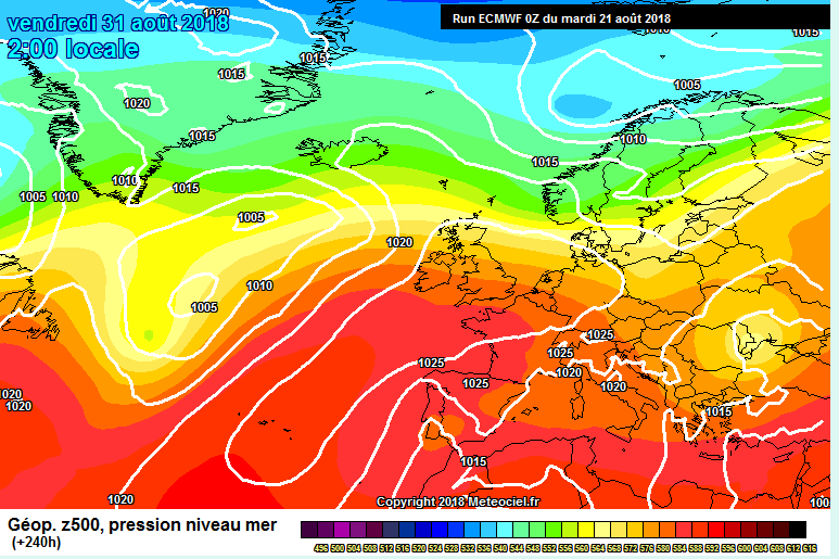 Latest ECMWF model showing High pressure moving towards Ireland and the UK at the end of this month into September