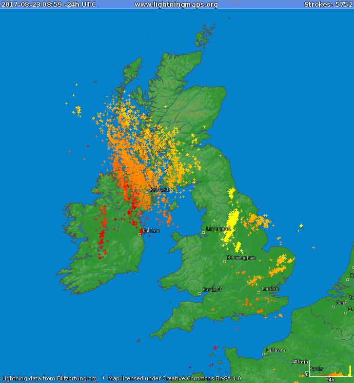 40,300 lightning strike recorded over Ireland and the UK with the around 80% of them over Ulster and Ireland.