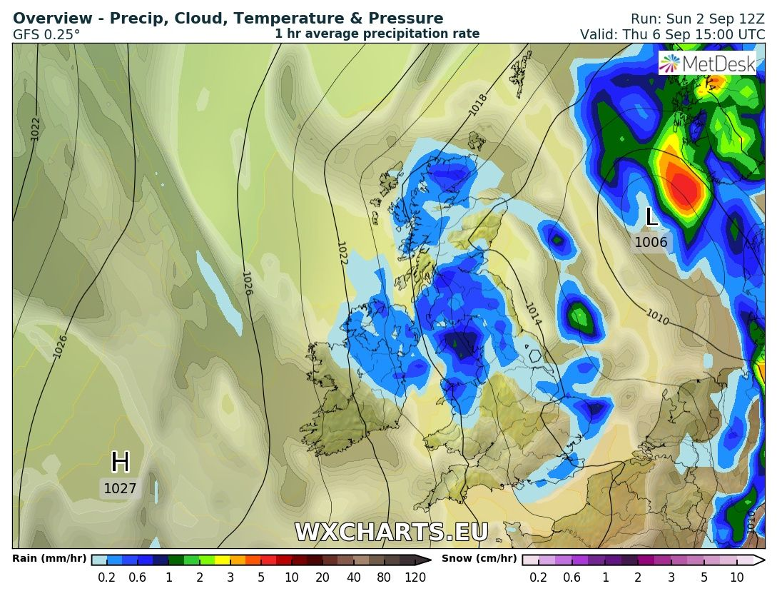 A weather front leading to showers on Thursday afternoon spreading down from the north