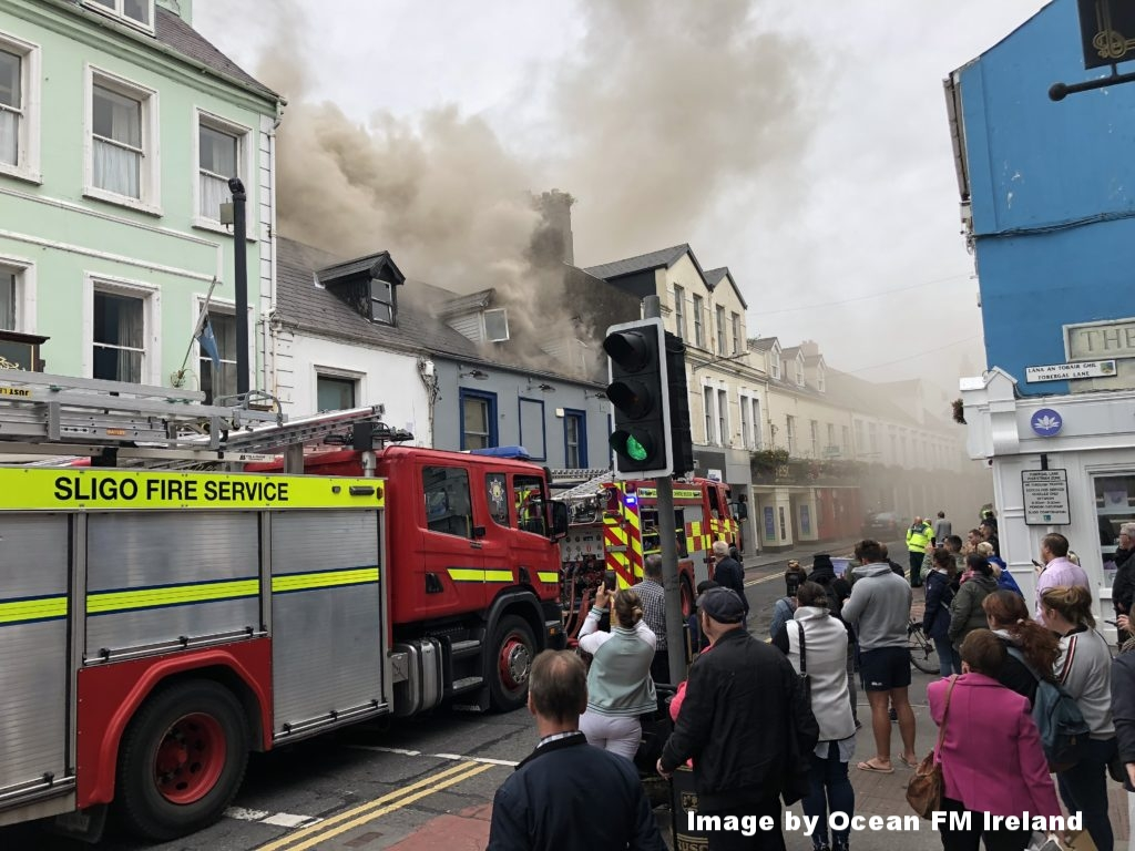 Fire on O Connell street in Sligo town just after lunchtime today - Image by  Ocean FM Ireland