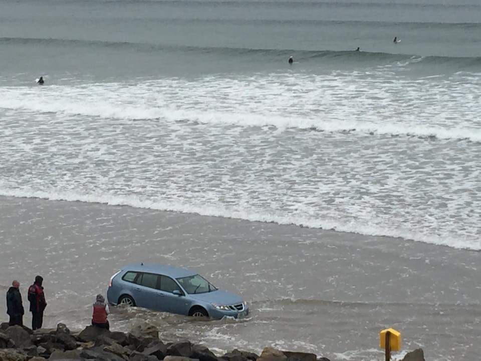 Car caught out by the tide on Rossnowlagh, Beach, Donegal on Monday afternoon