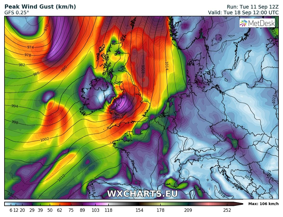 remnants Hurricane HELENE of the southwest of the UK and of the south east of Ireland early next week.