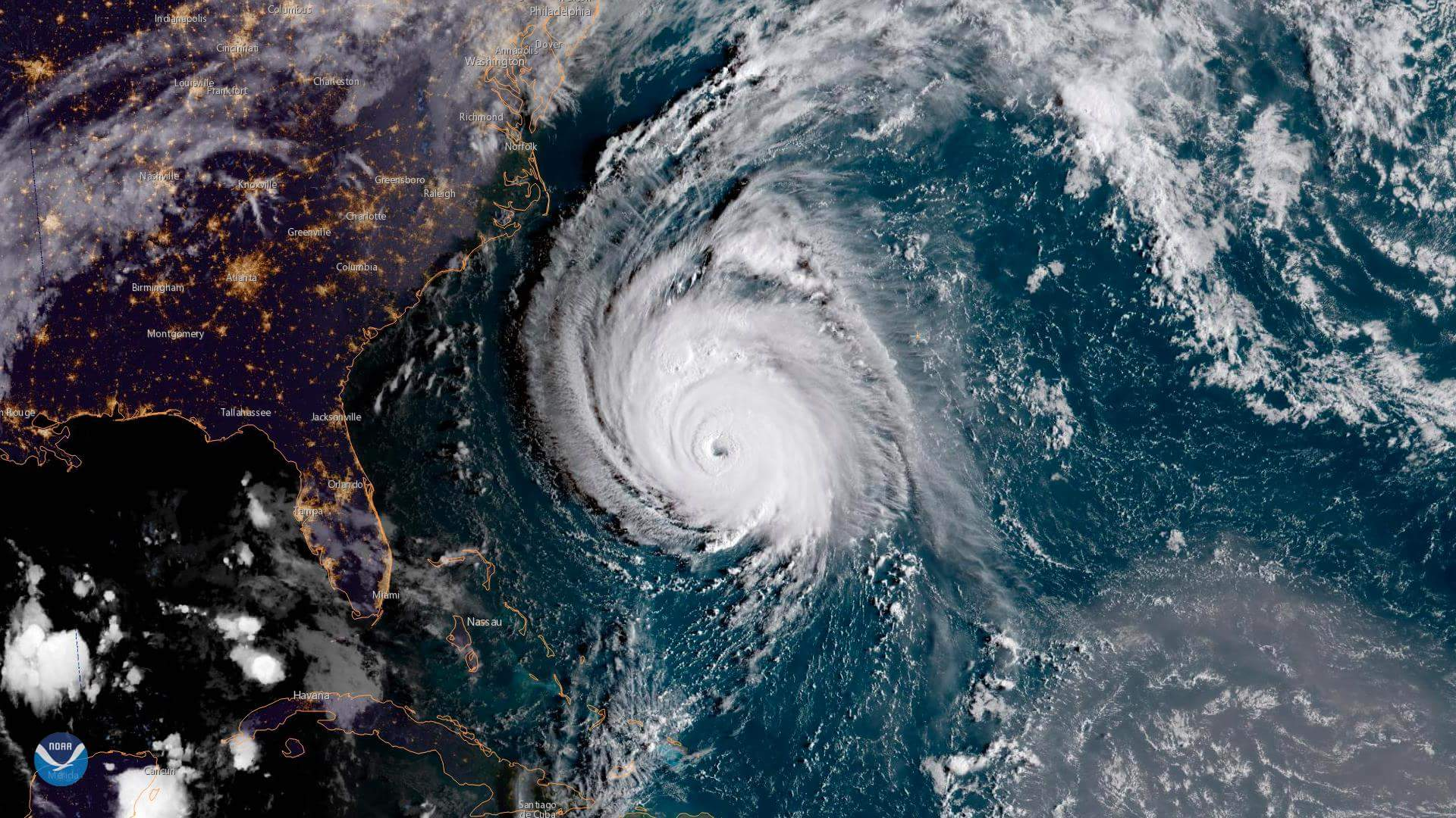 HURRICANE FLORENCE OF THE SOUTH EAST COAST OF THE UNITED STATES LAST NIGHT