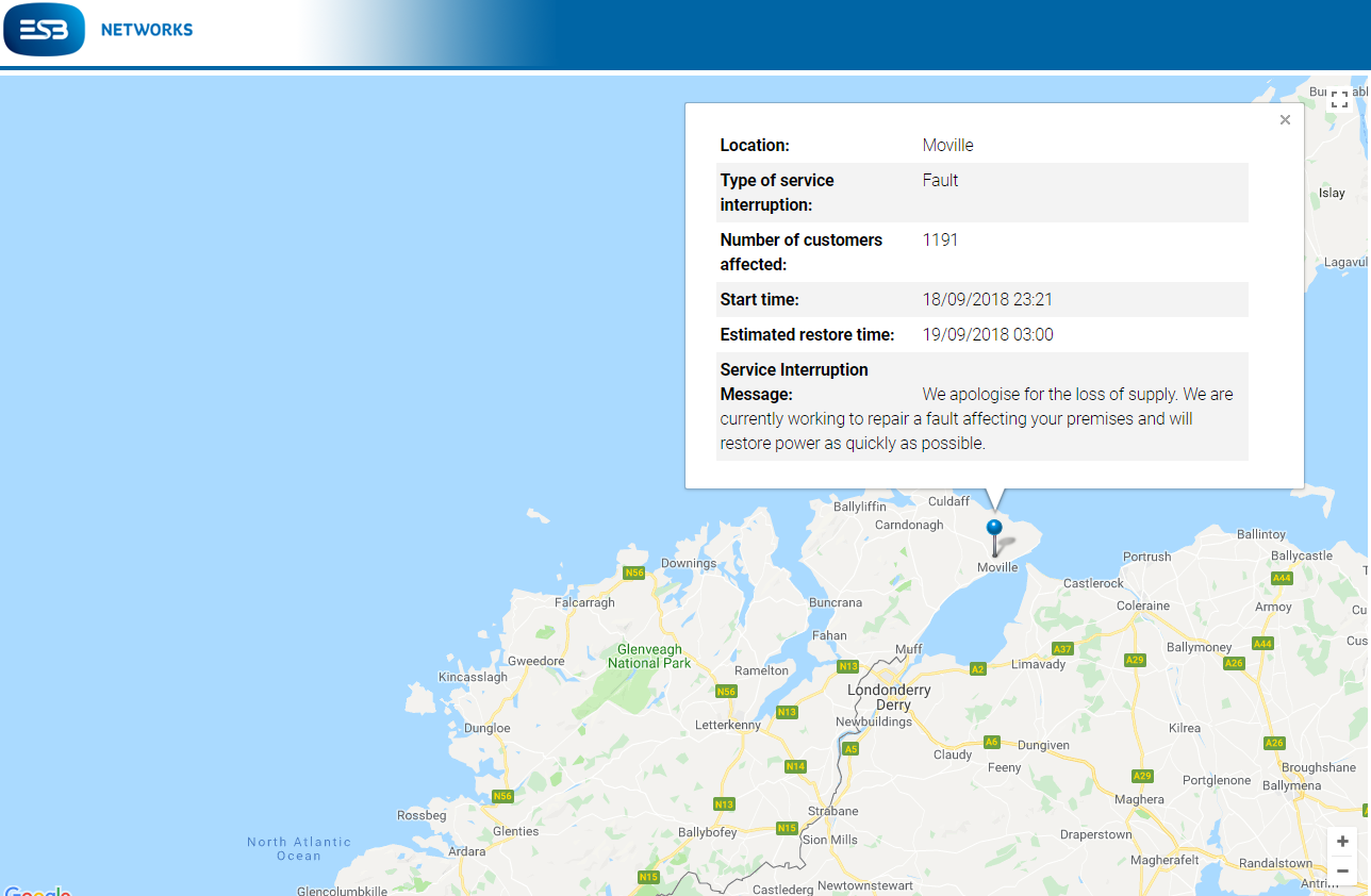 Power outage in Donegal tonight