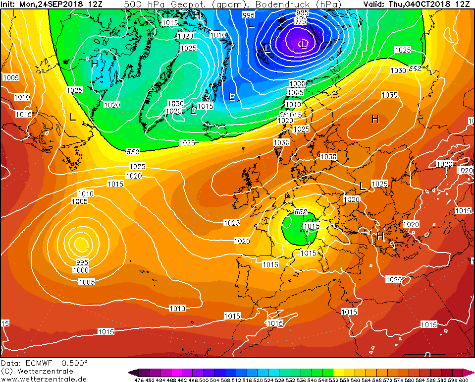 High pressure in place over Ireland into the first few days of October, ECMWF MODEL RUN