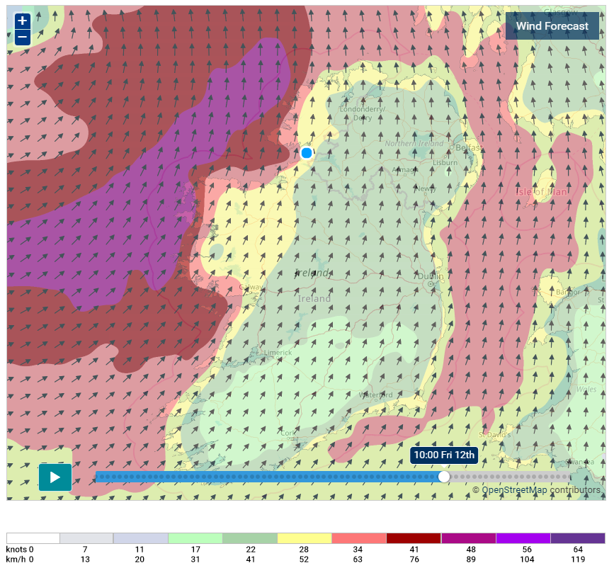 The latest    Met Eireann    high resolution model shown very strong gust on Friday morning