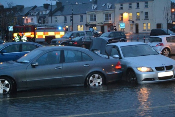 Image of flooding in the past in Donegal town at the pier car park - Image by Rory O Donnell