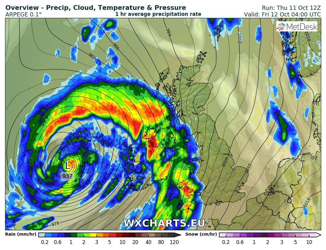 Possible squall line passing over ireland early Friday morning and moving northwards model run for 4:00am Friday 12th October 2018