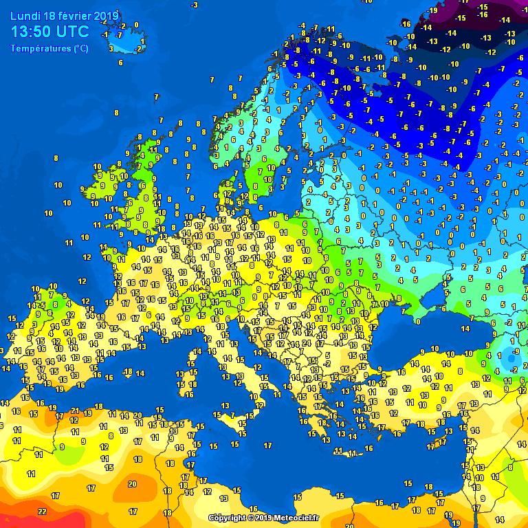 Temperatures across Europe today