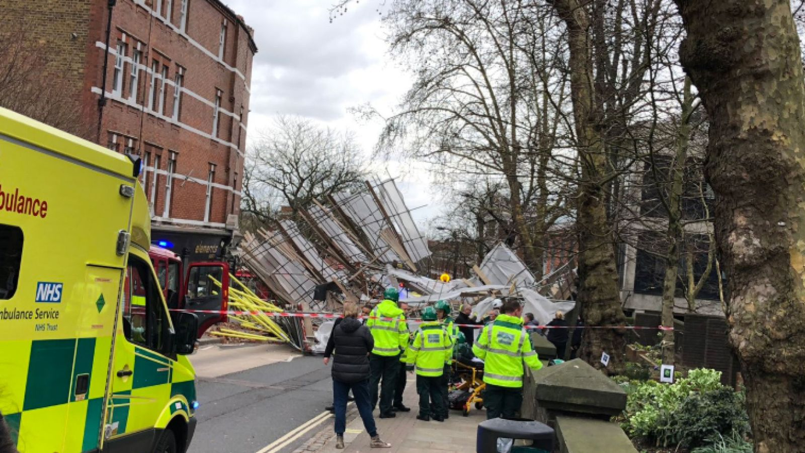There were no reports of injuries at the scene in Hampstead. Pic: @DoctorKenny