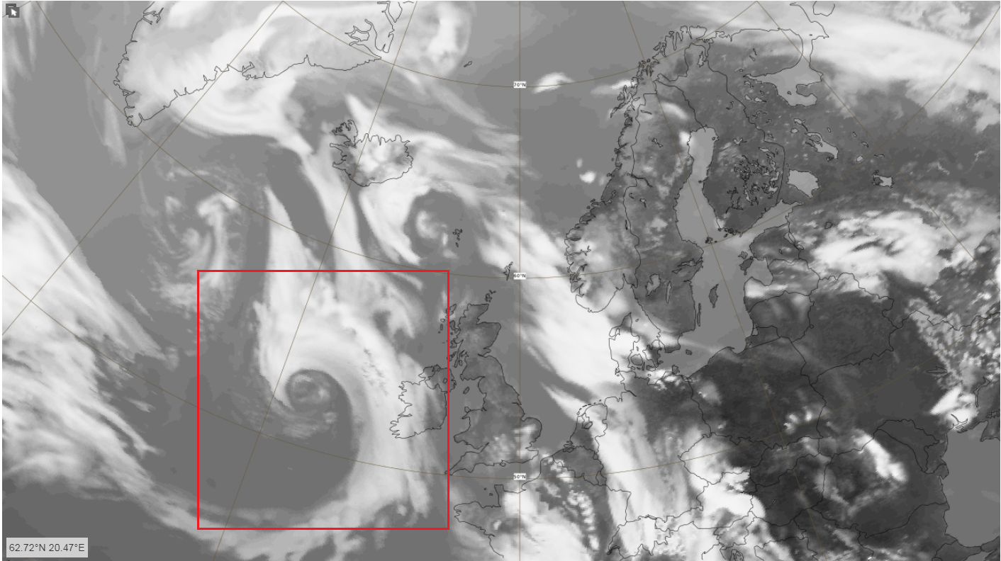 Images Above include the forecast modelled Infra-red Satellite for 1pm on Friday (Top) and forecast modelled winds at 7pm courtesy of the European Centre for Medium Range Weather Forecasting, the ECMWF.